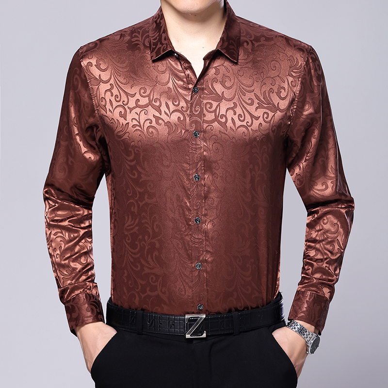 New arrival 2017 autumn spring mens satin silk shirts for Latest shirts for mens 2017