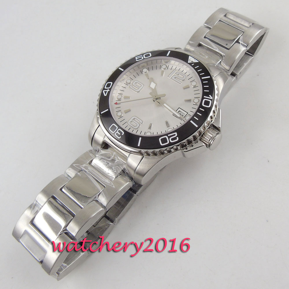 Fashion Casual Brand BLIGER Automatic Men 39 s Wrist Watch Silver Dial Sapphire Glass Luminous Watch Relogio Masculino in Mechanical Watches from Watches