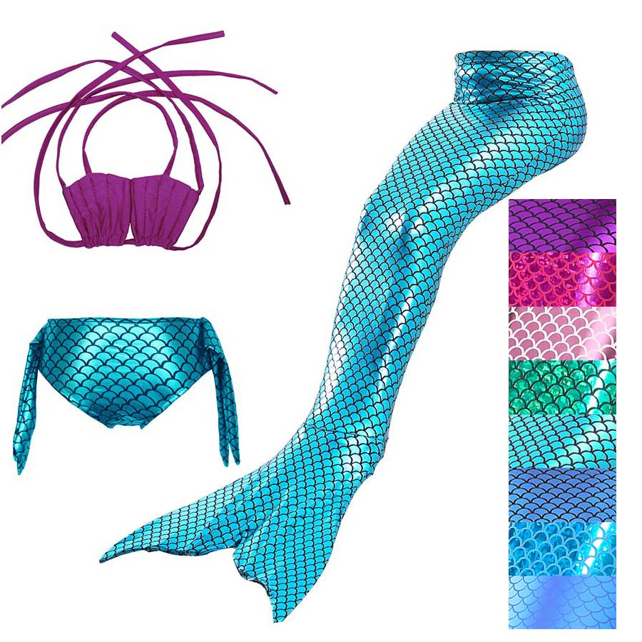 Mother & Kids Baohulu 3pcs Set Girl Kids Mermaid Tail Cosplay Swimmable Swimwear Swimsuit Girls Bikini Set Bathing Suit Fancy Costume Clothes Strong Packing