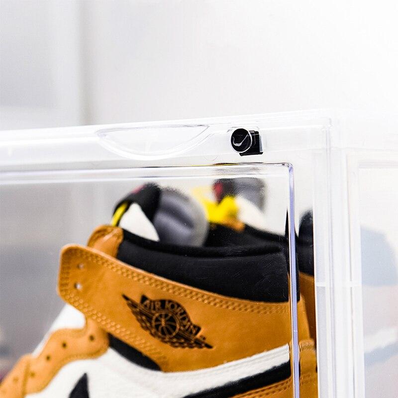 2019 tendance en plastique Transparent boîte à chaussures épaississement peut être superposée baskets côté vitrine chaussures de sport organisateur stockage - 5