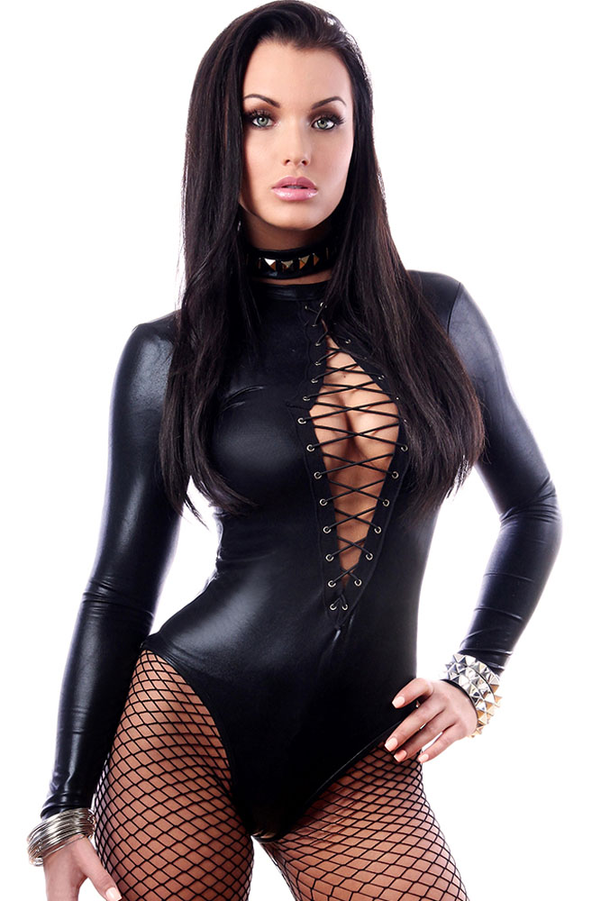 Black Sexy Faux Leather Catsuit Latex Bodysuit Sexy Teddy -8060