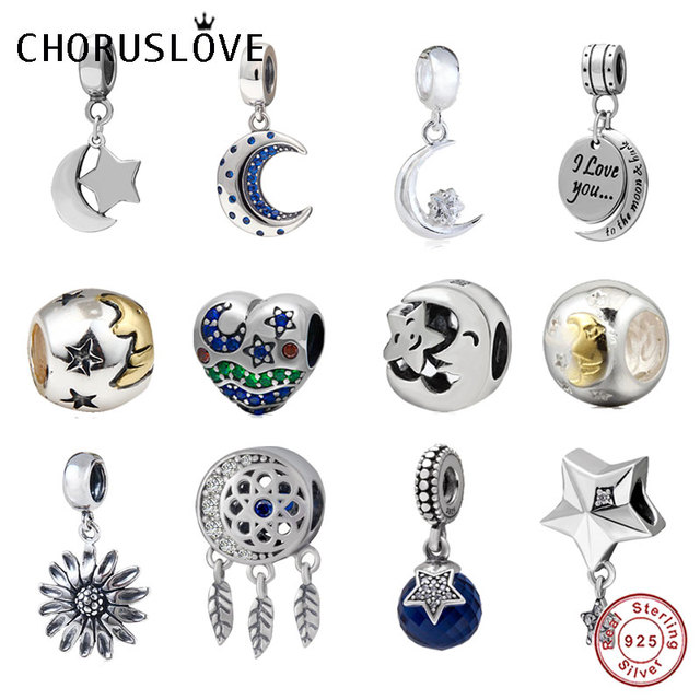 7e286963d6ce7 Choruslove Moon and Stars Sun Charms 925 Sterling Silver I Love You to the  Moon and Back Beads fit Pandora Love Basic Bracelet
