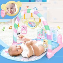 Baby Gym Frame Fitness Infant Cartoon Cradle Kick Play Piano With Pedals Child Music Crawling Playing Carpet Early Education Toy cute baby play mat fitness bodybuilding frame pedal piano music carpet blanket activity gym kick play lay sit toy for newborns