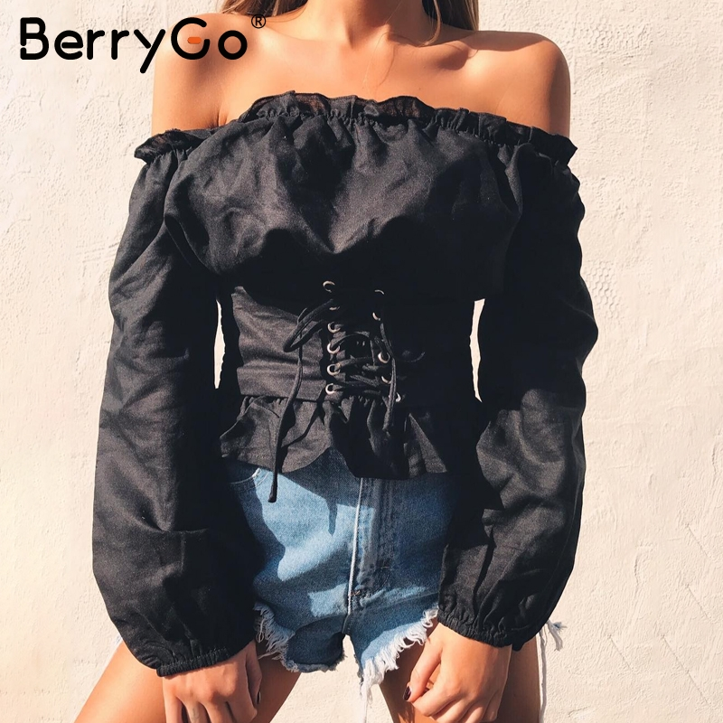BerryGo Ruffle off shoulder lace up blouse shirt women Sexy long sleeve streetwear blouse 2017 Autumn casual female top blouse