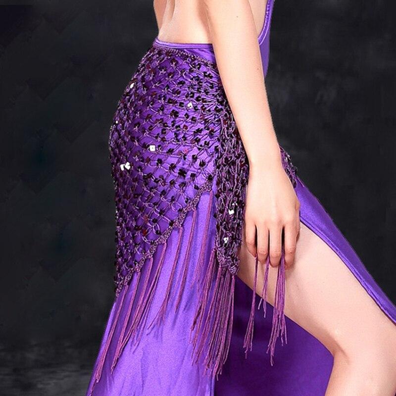 Costume de Danse du ventre Hanche Foulard Ceinture Triangle Sequin Châle Pratique Ceinture De Danse Du Ventre Accessoires Main Crochet Gland Hip Écharpe