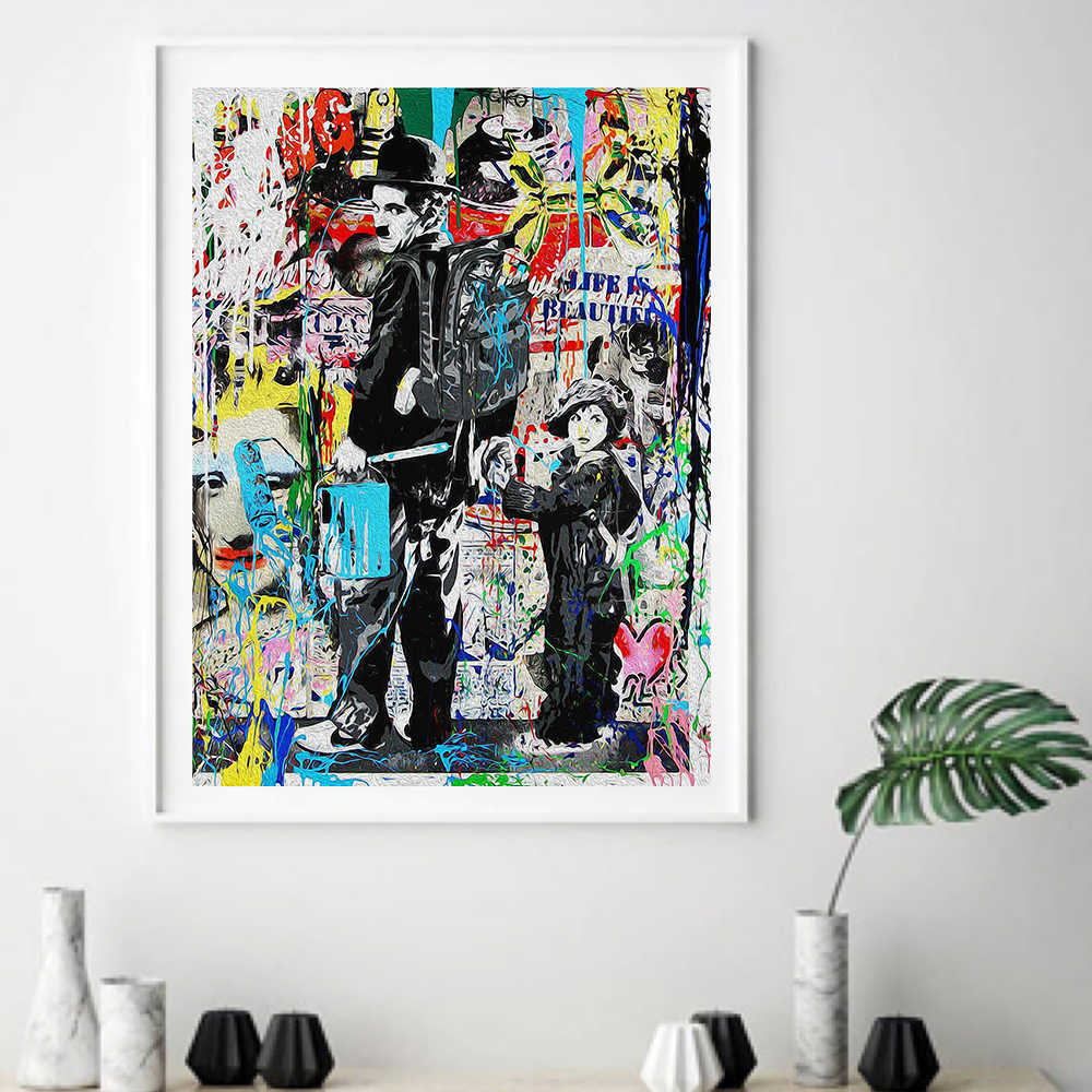 Cuadros Graffiti Banksy Chaplin Posters and Prints On Canvas Painting Wall Watercolor Art Print Wall Pictures For Living Room