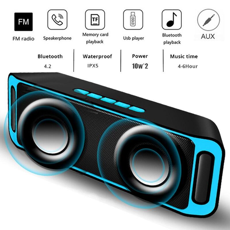LIGE Speaker Sem Fio Bluetooth Estéreo Portátil de Som Grande Potência 10W Sistema MP3 Música cabo de Áudio AUX Com MICROFONE Para Android iphone