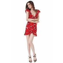 Boho Dress Women Cold Shoulder Ruffle Summer Dress Print High Waist Strap Chiffon Party Sexy Beach Dresses LJ8309C