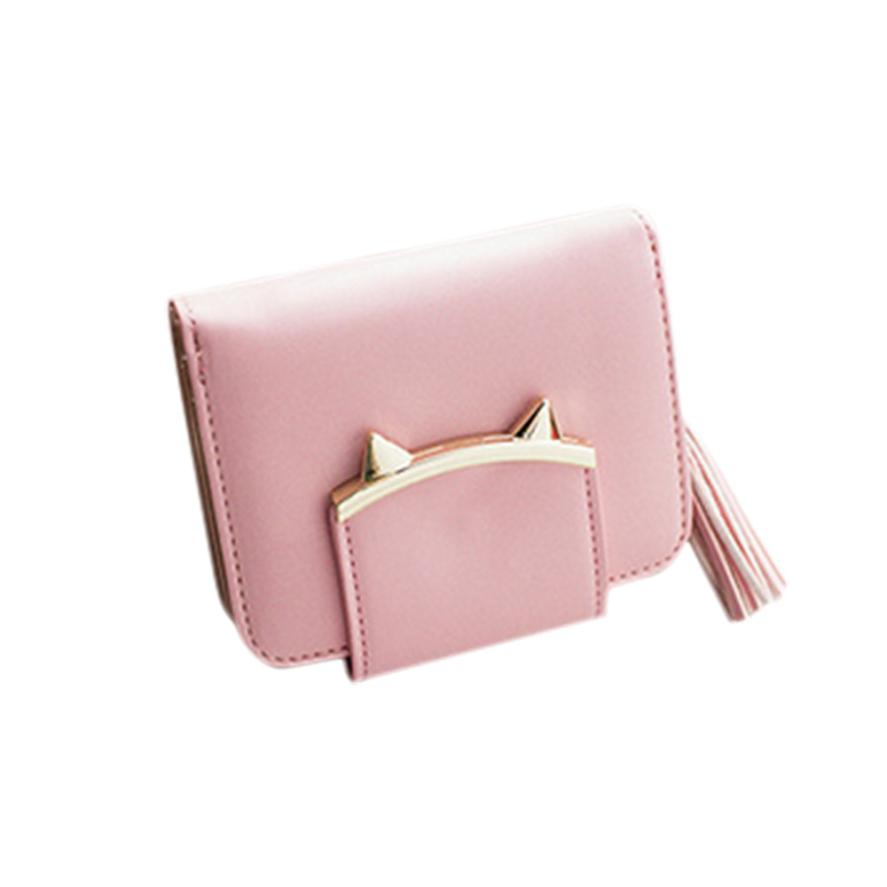 2016 Fashion Women Wallets PU Leather Tassel Female Wallet Ladies Bronzing Cat ears Clutches New Brand Card Holder Women Purses yuanyu 2018 new hot free shipping pearl fish skin long women clutches euramerican fashion leisure female clutches
