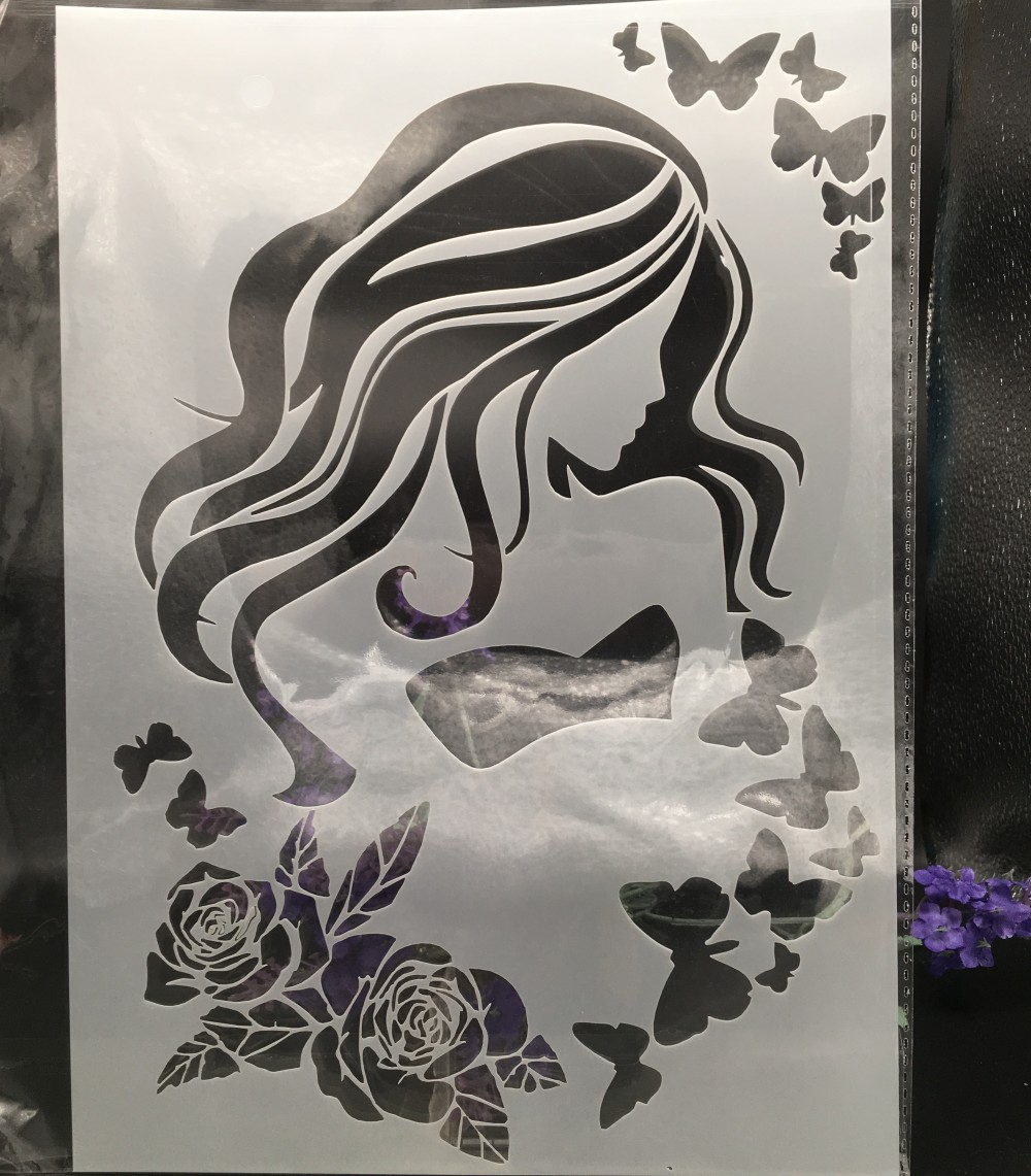 29*21cm A4 Long Hair Girl Bow DIY Layering Stencils Wall Painting Scrapbook Coloring Embossing Album Decorative Card Template