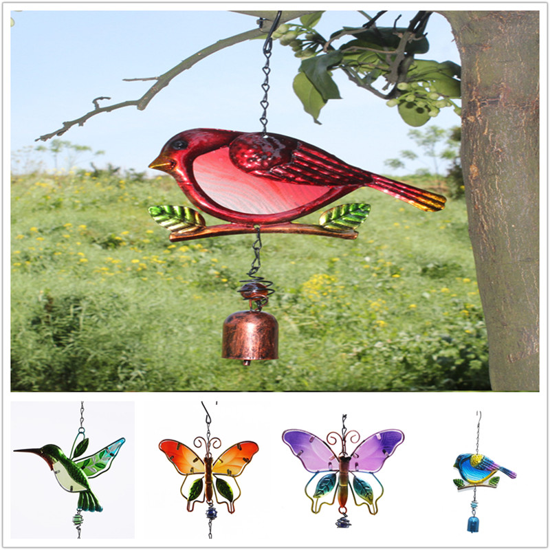 Handmade Bird Wind Chime For Wall Window Door Wind Bell Hanging Ornaments Vintage Home Campanula Decoration Crafts GPD8841-43