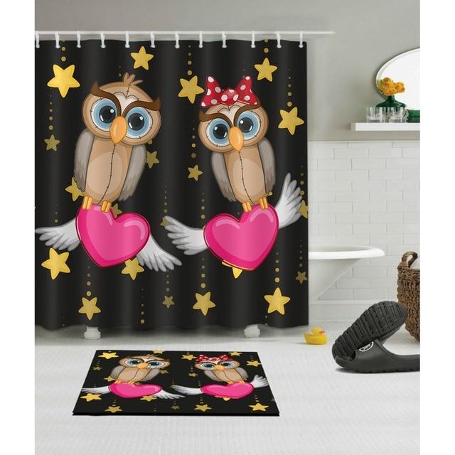 LB Cartoon Heart Birds Star Black Clawfoot Tub Shower Curtain Mat Set Waterproof Polyester Bathroom Fabric For Kid Bathtub Decor