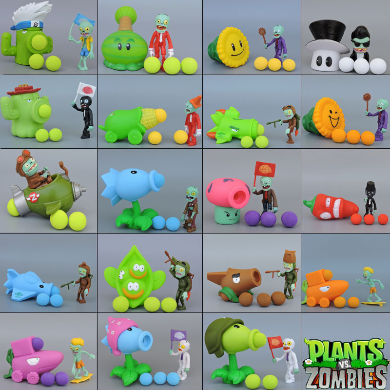 PVZ Plants Vs Zombies Peashooter PVC Action Figure Model Toy Gifts Toys For Children High Quality Brinquedos Can Launch