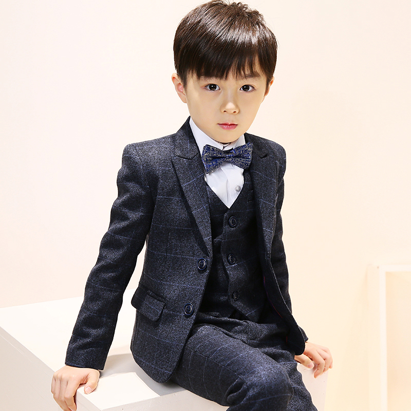 Children Boys Formal Sets Coat Pants Tie Costume Wedding Birthday Party Gentleman Boy Suit winter children boys formal sets 5 pcs woolen blend coat pants vest shirt tie costume wedding birthday party gentleman boy suit