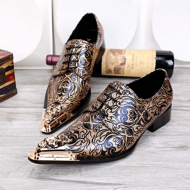 Men 39 s fashion floral wedding dress shoes lace shoes for Gold dress shoes for wedding