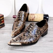 Men s Fashion Floral Wedding Dress Shoes Lace Shoes Genuine Leather Oxfords  Shoes for Men Metallic Toe 12d89350ed3a