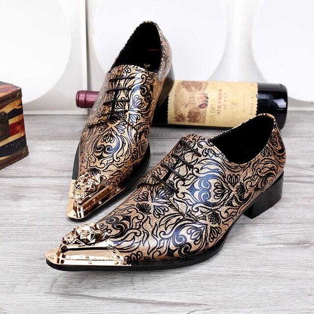 79b1d14afd02 Men s Fashion Floral Wedding Dress Shoes Lace Shoes Genuine Leather Oxfords  Shoes for Men Metallic Toe Gold Dress Shoes Men