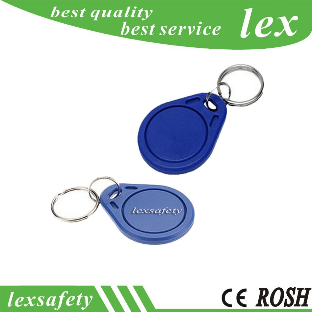 100pcs/lot Fm11rf08 8kbit 13.56mhz Customized Programmable Proximity Contactless Rfid Keychain Colored Key Tags With Blue 1k
