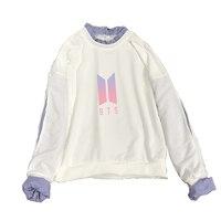 New Kpop BTS Harajuku Hoodies Spring Autumn Sweatshirt Love Yourself Cotton Feminino Printed Patchwork Cotton Hoodies