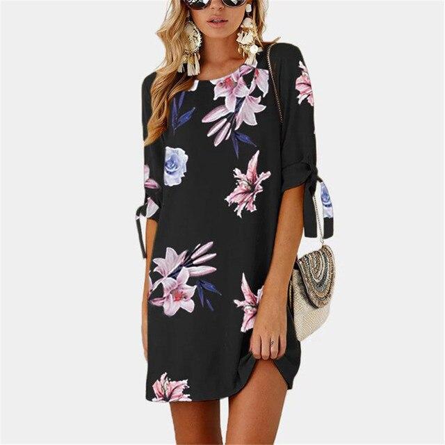 Meitawilltion 5XL Plus Size Chiffon Dresses 2018 Casual Bow Half Sleeve Floral Print Beach Dress Sexy Mini Party Dress Vestidos  3