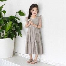 Mới 2020 Bay Tay Trẻ Em Mùa Hè cho Bé Gái Váy Đầm Bé Midi Đầm Lưới Miếng Dán Cường Lực Cho Bé Đầm Công Chúa Ren Cotton, #3933