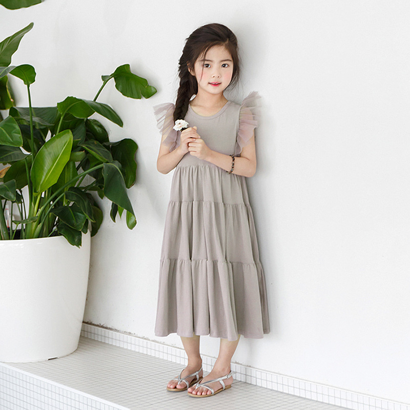 New 2020 Flying Sleeve Kids Summer Dress for Girls Dress Toddler Midi Dress Mesh Patchwork Baby Princess Dress Cotton Lace,#3933