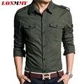 LONMMY Военный стиль мужчины рубашка slim fit 100% хлопок человек рубашки высокого качества С Длинным рукавом Весна 2016 новый Хаки зеленый