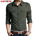 LONMMY Military style men dress shirt slim fit 100% cotton man shirts high quality Long sleeve Spring 2016 new Khaki Green