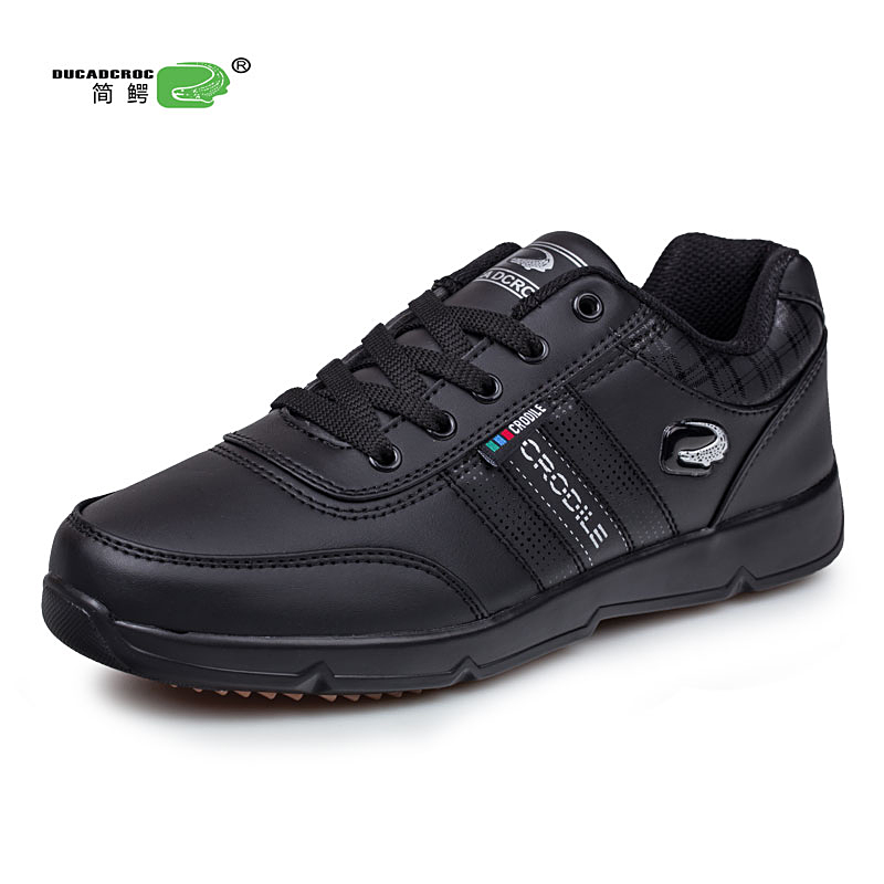 цены KERZER Men's Running Shoes Big Size Sneakers Spring Autumn Men Sneakers Men Sport Trainers Leather Athletic Shoes Black/White