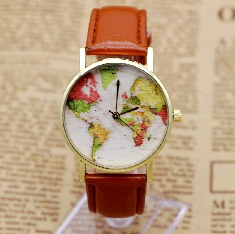 2016 Brand Fashion World Map Watch Women Casual Leather Strap Quartz Watches Montre Femme Relogio Feminino 7854 faux leather strap world map face watch