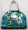 Free shipping Hot Sale Fashion Women Bag Blue Leopard rivet    shoulder bag