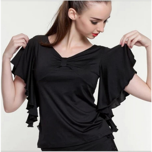 New  Spanish Dance Shirt Flamengo Ruffle Dance Costume Women Ballroom Latin Tshirt Tops Flamenco Shirt Jupe Flamenco