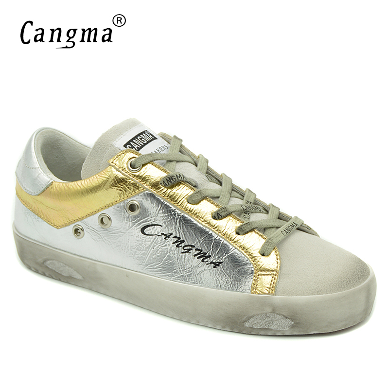 CANGMA Women Sneakers Fashion Design Shoes Girls Casual Shoes Silver Female Genuine Leather Breathable Suede Famous Footwear