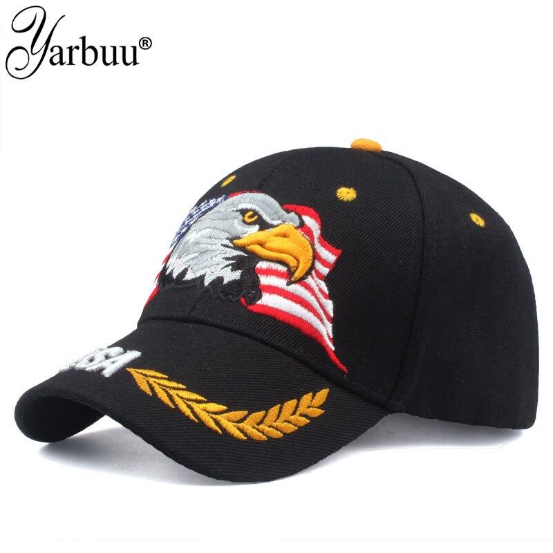 [YARBUU] Hohe Qualität USA Flagge Baseball Cap Männer Frauen Adler Hysterese Papa Hut Knochen Outdoor Casual Sonne Golf hut Trucker Cap Gorras