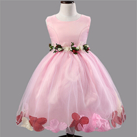 Vestidos summer baby girls sleeveless dress tutu princess party wedding dresses chiffon flowers belt 2015 elegant girls dress