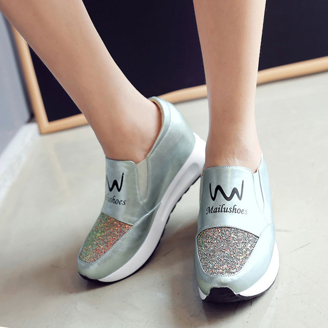 Tangnest Gold Women Increased Shoes Women Fashion Glitter Platform Loafers Printed Casual Elevator Shoes Woman Size 35~42 XWC908