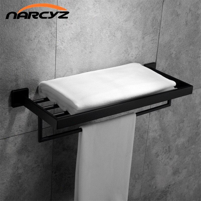 New Style Model Black/Chrome square Towel rack 304 stainless steel Wall mount Bathroom Towel rack Bathroom accessories 9160K stainless steel square towel ring chrome finishing flg8902
