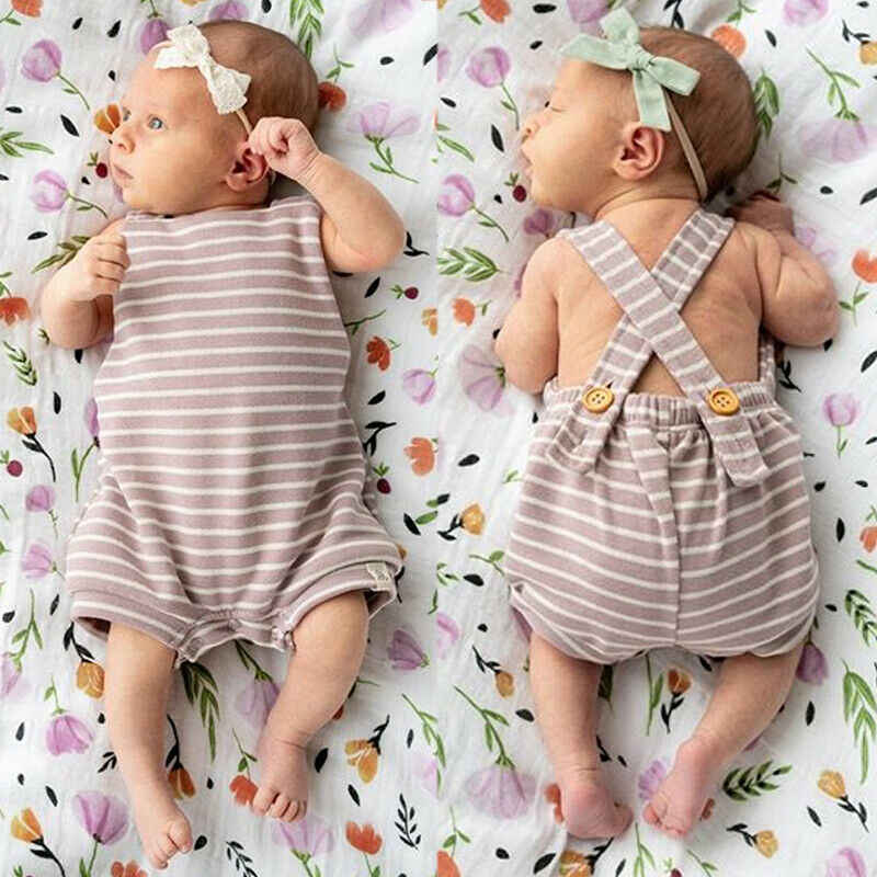 d95e74694367c KID Fashion Toddler Baby Girls Stripes Romper Bib Pants Overalls Outfits  Clothes Summer Dark Buckle Baby Boys Casual Junpsuits