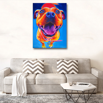 Hand Painted Cute Colorful Pit Dog Wall Art  Animal Canvas Paintings 3D Texture Oil Painting Modern Abstract Wall Decor room