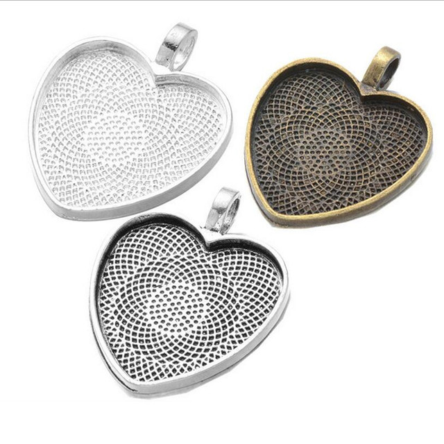 10pcs 25mm heart cabochons cameo settings silver plated pendants 10pcs 25mm heart cabochons cameo settings silver plated pendants bezel trays base fit 25mm glass cabochon aloadofball Choice Image