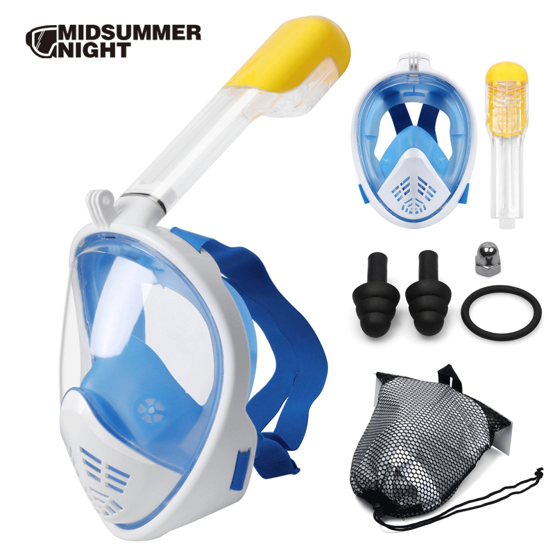 Snorkel Mask 180 Panoramic View Free Breathing Full Face Snorkeling Mask Dry Top Set Anti fog