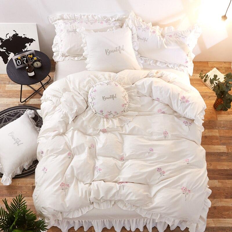 Rosa Blanco verde princesa coreana 100% juegos de cama de algodón doble reina rey tamaño niñas niños juegos de cama sábana edredón cubierta-in Juegos de ropa de cama from Hogar y Mascotas    1