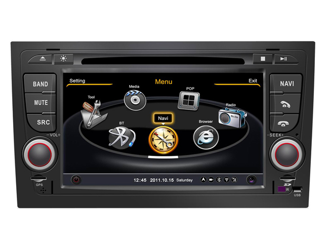 2 Din Car DVD with PIP bluetooth GPS Navigation for Audi A4 with bluetooth Built-in GPS Navigation free shipping