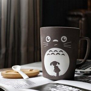 Image 3 - Тематические кружки OUSSIRRO Totoro для молока/кофе с крышкой и ложкой, однотонные кружки, чашка, кухонный инструмент, подарок