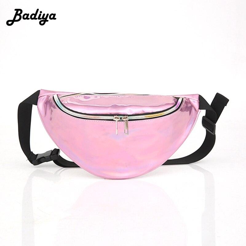 Women Fashion Laser Belt Fanny Pack PU Leather Waterproof Waist Bag Phone Packs Multi-functional Female Bolsa