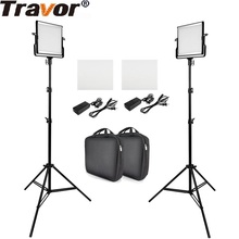 лучшая цена Travor L4500 2 Kit Video Light With Tripod Dimmable Studio Photo lighting for Photography Wedding News Interview Fill LED lights