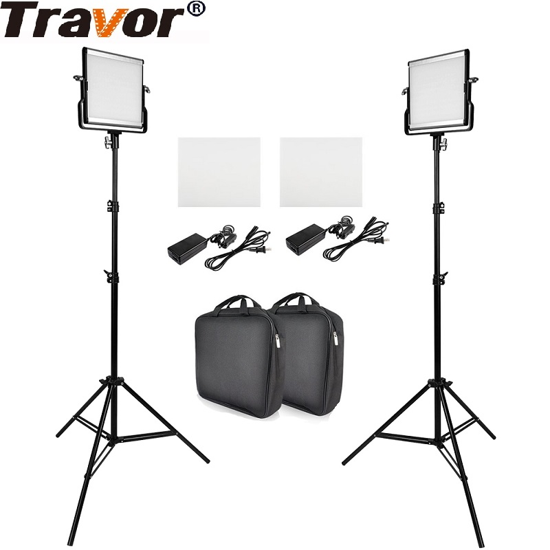 Travor Video Light Set Dimmable Bi-color 3200K/5600K LED Studio Video Panel Light &Tripod For Studio Photography Video Shooting travor tl 600a 2 4g kit bi color led video light 3200k 5500k for photography shooting three light 6pcs battery 3 light standing