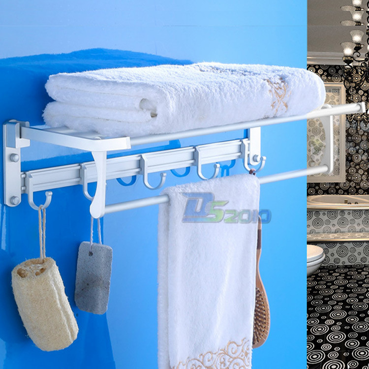 ФОТО Space Aluminium Towel Rack Wall Mounted Bathroom Shelf and Towel Rail Racks Silver Holder For Room Storage Supply Well-designed