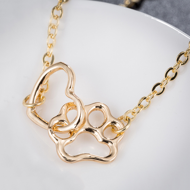 Gift For Her-Cute Cat Paw Print Silver Gold Color Charm Bracelets 2