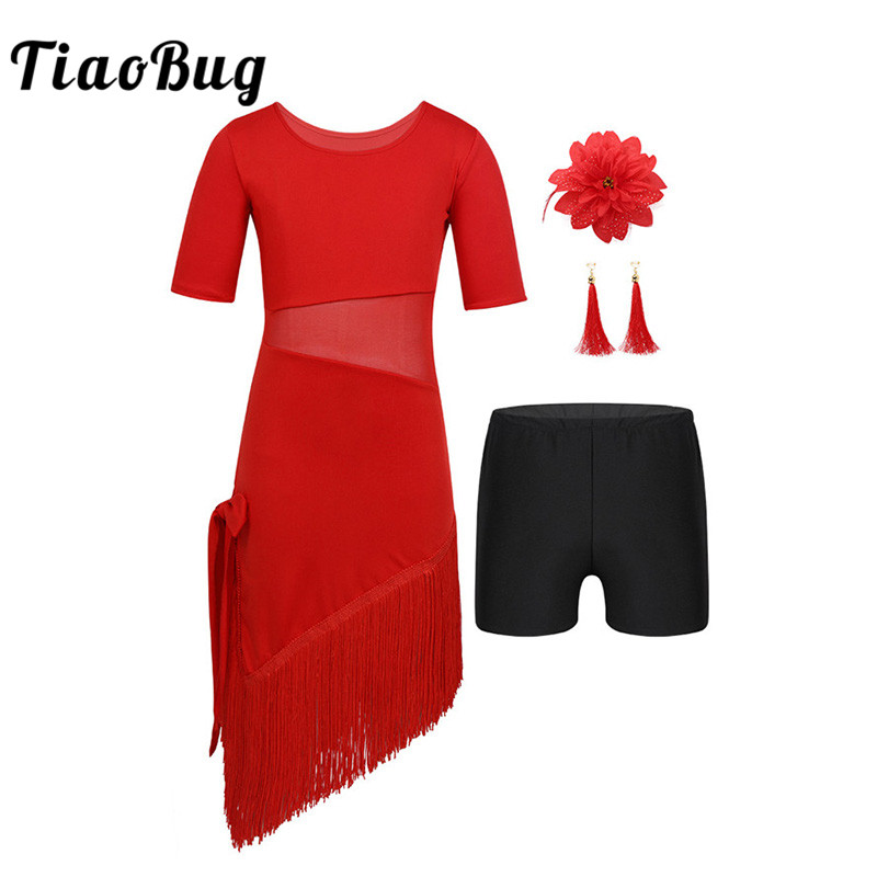 TiaoBug Kids Teens Tassels Latin Dance Dress With Shorts Earrings Headwear Set Girls Mesh Splice Ballroom Rumba Tango Dance Wear